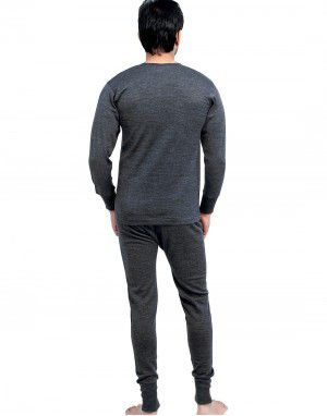 Mens FS merino Wool Dark Grey thermal Set