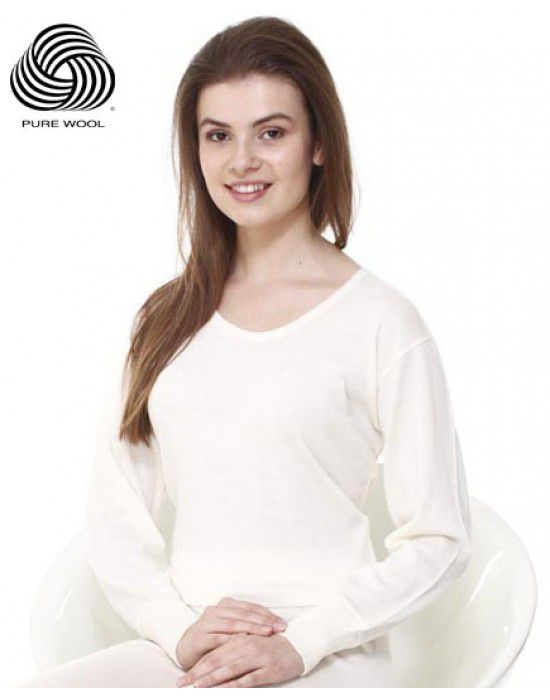 Women Merino Wool FS Blouse Type Thermal Cream