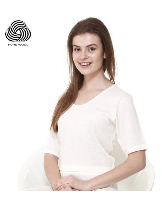 Women Merino Wool HS Blouse Type Thermal Cream