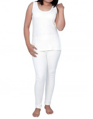 Women Cotton warmers Set Slip Type White plus size