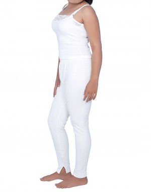 Women Cotton Lycra Camisole warmers Set White