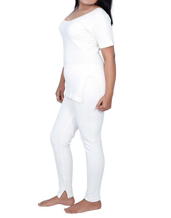 Women Cotton HS Warmers Set Slip Type White