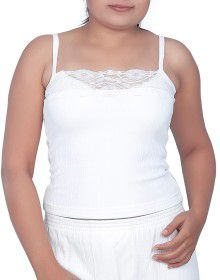 Women Cotton Lycra Camisole Body warmers White