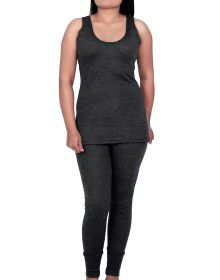 Women Merino wool SL Slip Type Thermal Set Dark Grey
