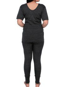 Women Merino wool HS Slip Type Thermal Set Dark Grey