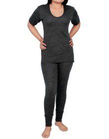Women Merino wool HS Slip Type Thermal Set Dark Grey
