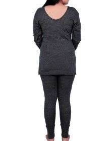 Women Merino Wool FS Slip Type Thermal Set Dark Grey