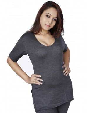 Women Merino wool SL Blouse Type Thermal Set Dark Grey