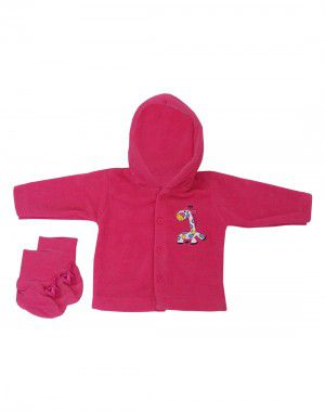 Baba Suit With Hood Fleece Plain Pink