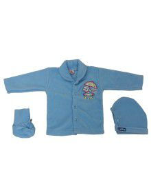 Baba Suit Teddy Design and Bootie Skyblue