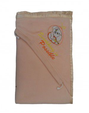Winter Blanket for Infants With hood peach color