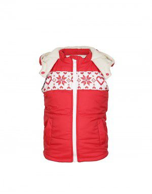 Toddlers Girls Quilted Sleeveless Jacket Red