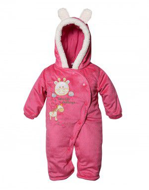 Toddlers Hooded Front Open Single Piece Suit Pinkish