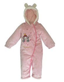 Toddlers Hooded Front Open Single Piece Suit Baby Pink