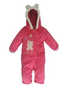 Toddlers Hooded Front Open Single Piece Suit Dark Pink