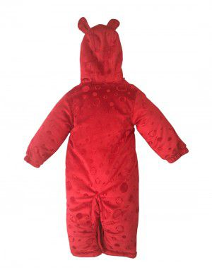 Toddlers Hooded Front Open Single Piece Suit Red