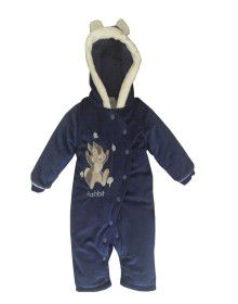 Toddlers Hooded Front Open Single Piece Suit Royalblue