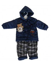 Toddlers Hooded Two Piece Suit Blue Bottom Checked