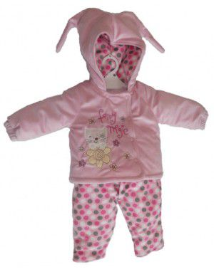 Baby Girl Hooded Two Piece Pink Suit