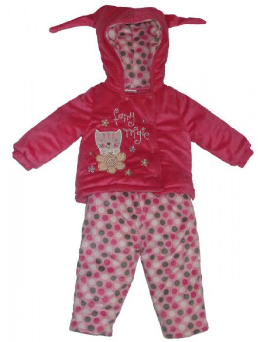 Baby Girl Hooded Two Piece Dark Pink Suit