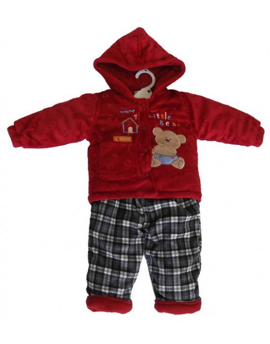 Baby Boy Hooded Two Piece Red Check Suit