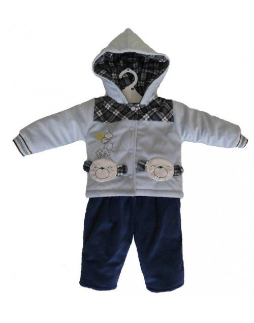 Baby Boy Hooded Two Piece Blue Suit