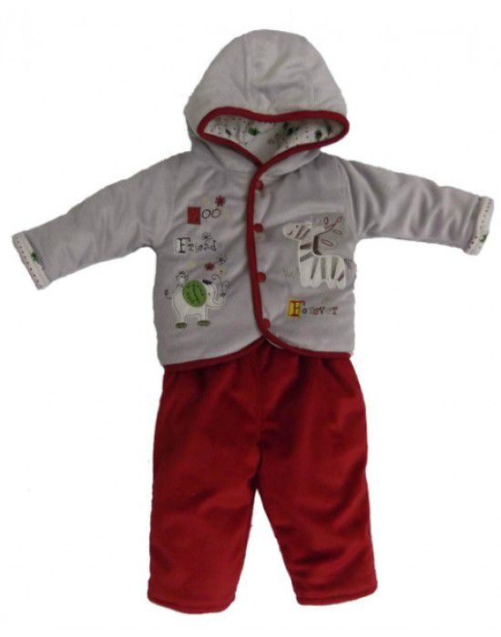 Toddlers Hooded Two Piece Suit Grey Red