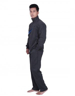 Mens Grey Track Suit front stripe