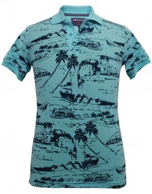 Mens collar HS sleeves skyblue with printed T shirt