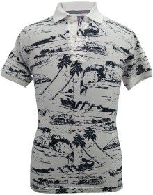Mens collar HS sleeves white with printed T shirt