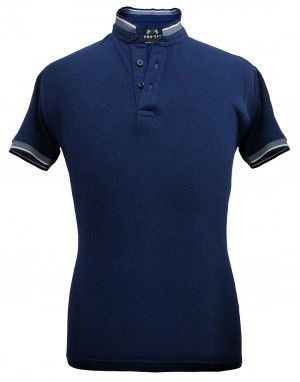 Mens Ban Collar HS sleeves Navy T shirt