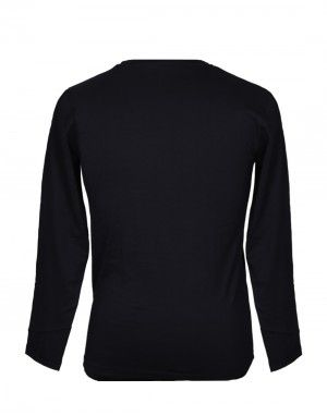 Mens Round Neck Full sleeves Black T shirt