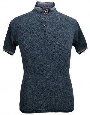 Mens Ban Collar HS Sleeves Grey T shirt