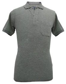 Mens Collar  HS sleeves grey T shirt