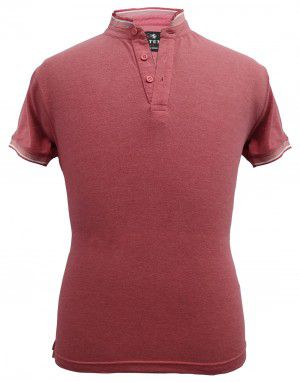 Mens Ban Collar HS sleeves Rust T shirt