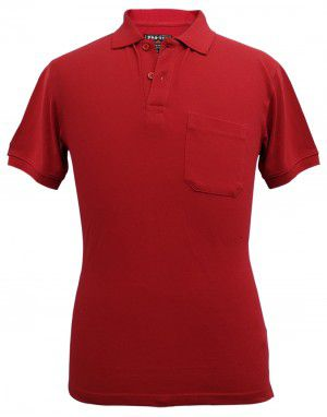 Mens Collar HS sleeves red T shirt