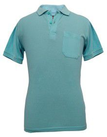 Mens  Collar  HS sleeves skyblue T shirt