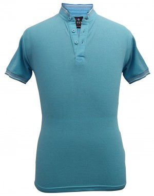Mens Ban Collar HS sleeves Skyblue T shirt