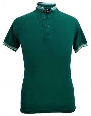 Mens Ban Collar HS sleeves  green T shirt