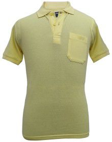 Mens Collar HS sleeves yellow T shirt