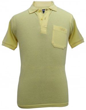 Mens Collar HS sleeves yellow T shirt