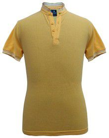 Mens Ban Collar  HS sleeves yellow T shirt