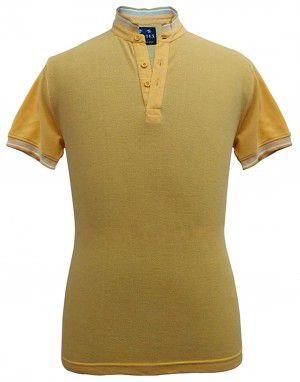 Mens Ban Collar  HS sleeves yellow T shirt