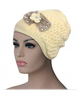 Women cap Bow design with fur lining camel