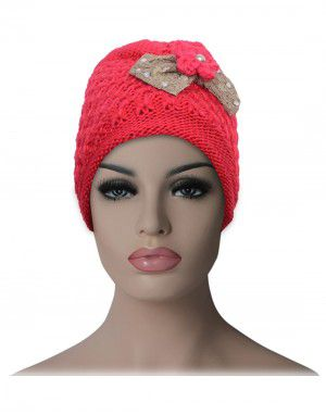 women cap Bow design with fur lining dark  pink