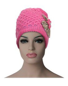 Women cap Bow design with fur lining pink