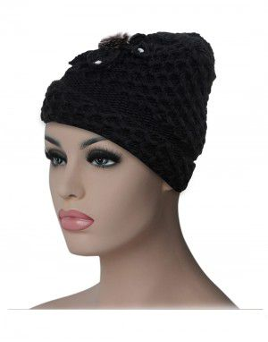 Women cap flower design with fleece lining black