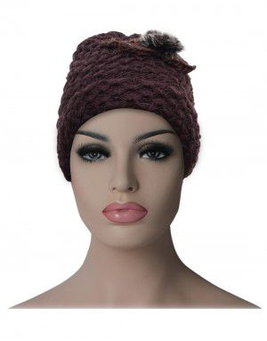 Women cap flower design with fleece lining mauve