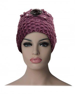 Women cap flower design with fleece lining purple