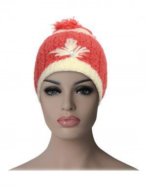Kids woollen stone pom pom cap orange